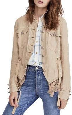 Free People Emilia Relaxed-Fit Contrast Lace Jacket