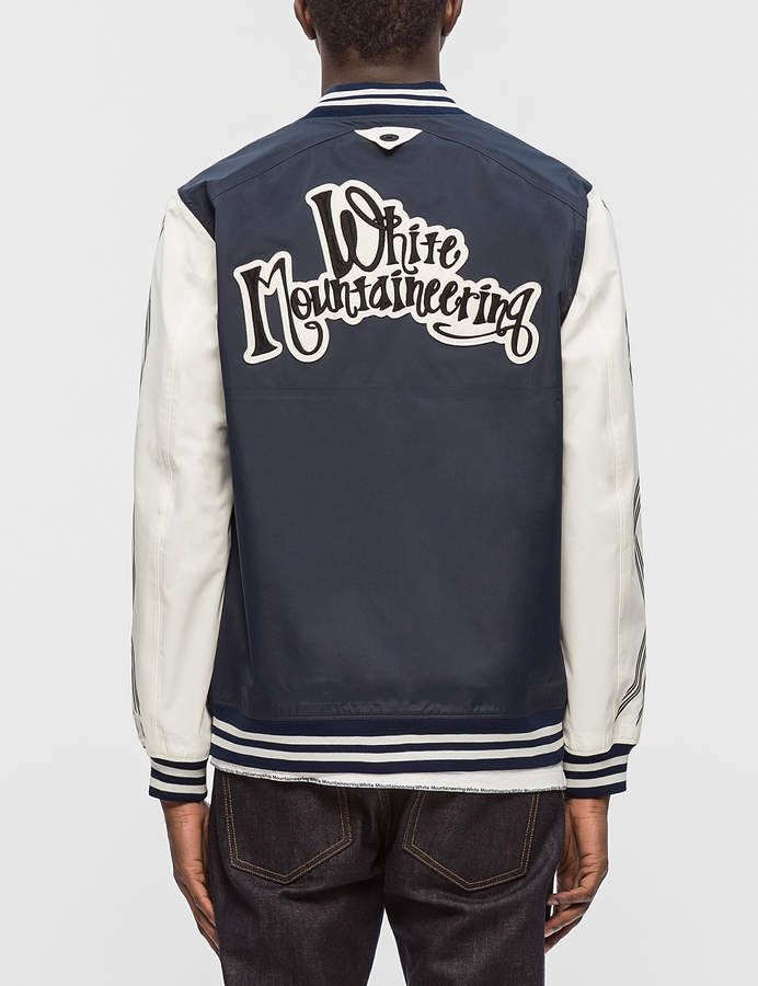 White Mountaineering Embroidered Emblem Saitos Taffeta 3L Varsity Jacket