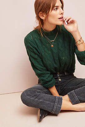 Line & Dot Cable-Knit Pullover