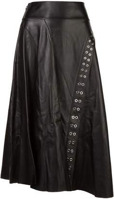 Derek Lam Leather Flare Skirt with Grommet Detail