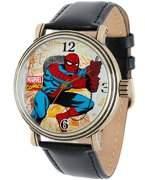 Marvel Spider-Man Men's Vintage Gold Antique Alloy Case Watch, Black Leather Strap Watch