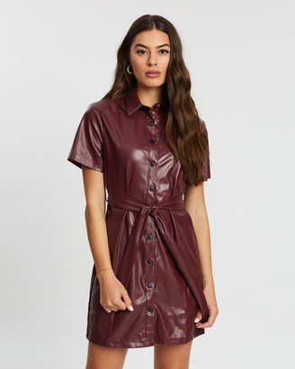 Missguided Faux Leather Tie-Belt Shirt Dress
