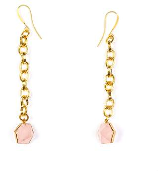 Tiana Jewel - Rose Quartz Capsule Chain Earrings Gold