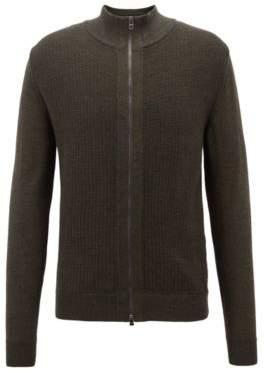 BOSS Hugo Regular-fit zippered cardigan in Italian merino wool L Open Green