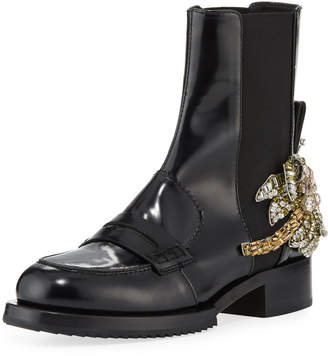 No.21 No. 21 Leather Boots with Crystal Flower