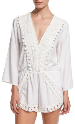 La Blanca Crocheted-Trim Long-Sleeve Romper Coverup $95 thestylecure.com