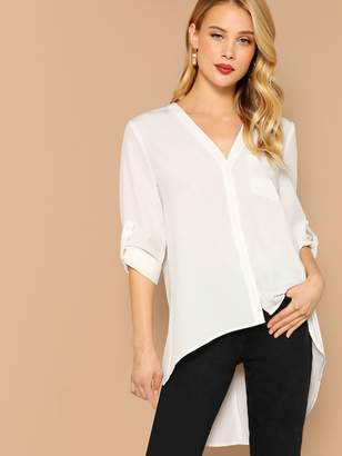 5eb43a22af4f3 Shein Single Pocket Roll Tab Sleeve Asymmetric Blouse