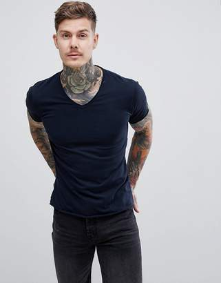 Replay raw hem v neck t-shirt in blue