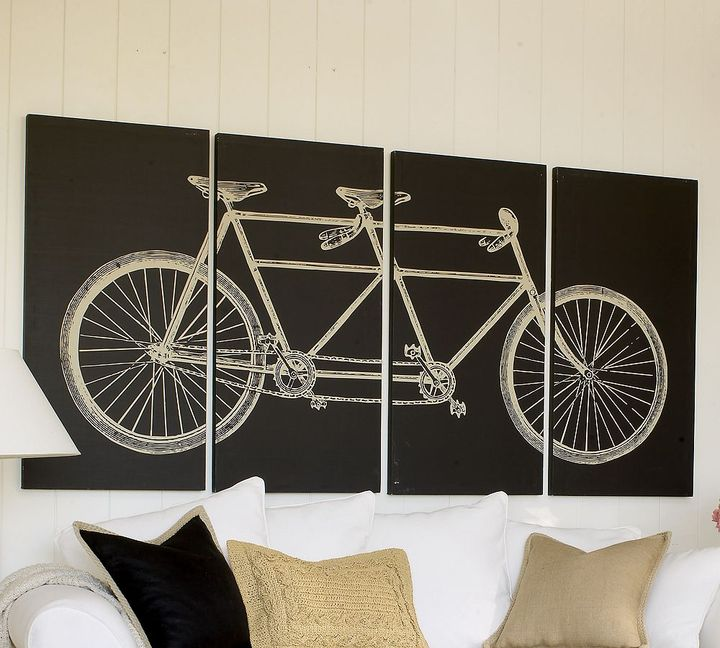 Tandem Bicycle Canvas, Set of 4