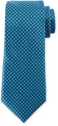 Canali Men's Tonal Circles Silk Tie, Green