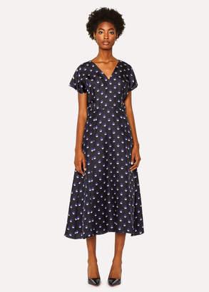 Paul Smith Women's Black V-Neck Silk Dress With 'Eclipse Spot' Print