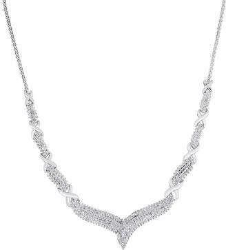 JCPenney FINE JEWELRY 1/2 CT. T.W. Diamond Sterling Silver X Necklace