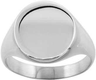 Sabrina Silver Surgical Steel Oval Signet Ring Solid Back Flawless Finish 5/8 inch, size 13