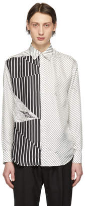 Givenchy White and Black Silk Graphic Printed Shirt