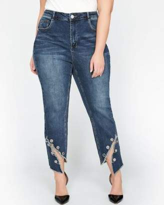 Addition Elle L&L Slim High Waist Jeans with Angled Slit Hem