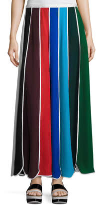 Rosie Assoulin Umbrella Colorblock Silk Skirt, Multi