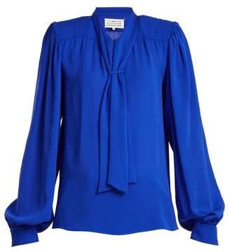 Maison Margiela - Tie Neck Silk Blouse - Womens - Blue
