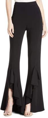 Cushnie High-Waist Flare-Leg Stretch-Viscose Pants with Ruffle Cuffs