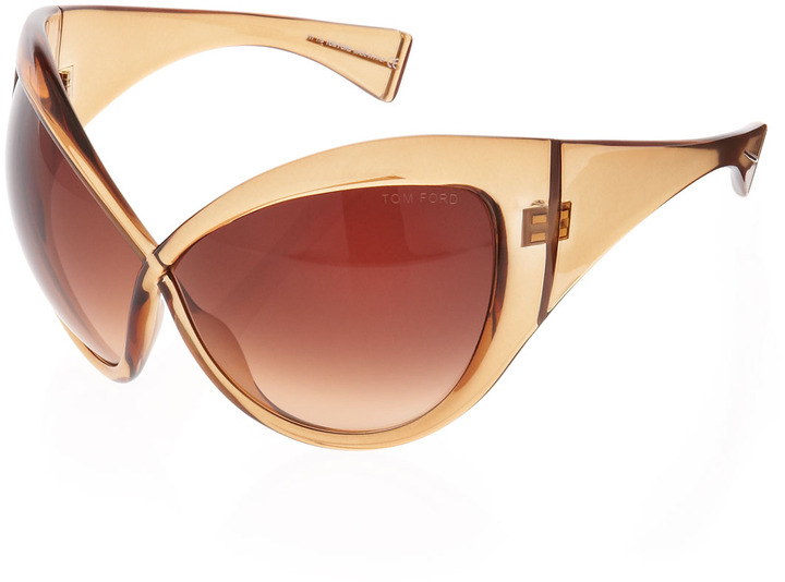 Tom Ford Daphne Oversized Sunglasses, Shiny Light Brown