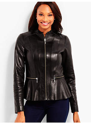 Talbots Leather Peplum Zip Jacket