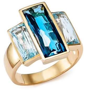 Bloomingdale's London Blue and Sky Blue Topaz Three Stone Ring in 14K Yellow Gold - 100% Exclusive