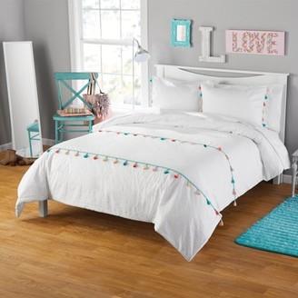 Your Zone Seersucker Tassel Comforter and Sham Set