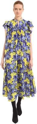 Balenciaga Flou Purple Poppy Silk Jacquard Dress