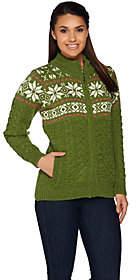 Aran Craft Merino Wool Snowflake JacquardCardigan