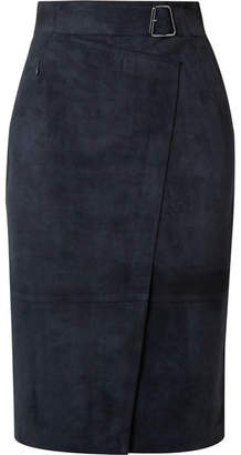 Akris Belted Wrap-effect Suede Skirt - Navy