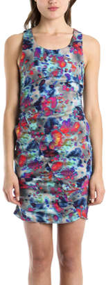 Suno Shirred Sleeveless Multi-Colored Dress