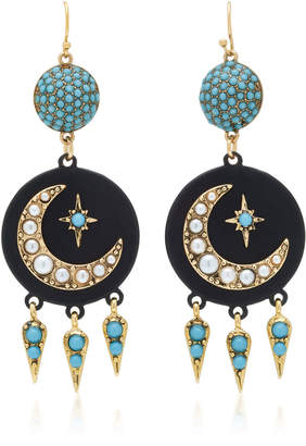 Lulu Frost Tribute Gold-Plated Crystal Crescent Earrings