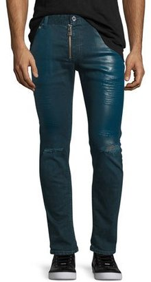 Just Cavalli Coated Slim-Fit Distressed Jeans, Blue $495 thestylecure.com