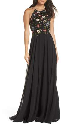 Jenny Yoo Sophie Embroidered Luxe Chiffon Gown