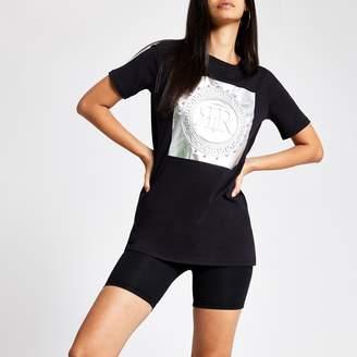 River Island Womens Black RI embellished boyfriend T-shirt