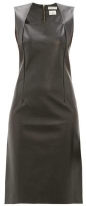 Bottega Veneta Square Neckline Leather Dress - Womens - Black