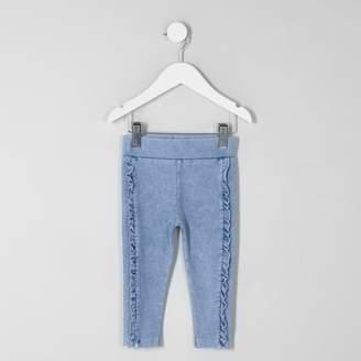 River Island Mini girls Blue ruffle side leggings