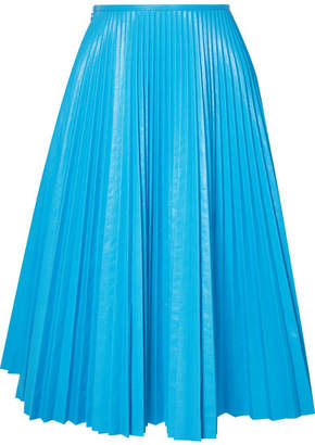 Cédric Charlier Pleated Faux Leather Skirt - Light blue
