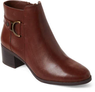 Anne Klein Cognac Jaysie Leather Ankle Booties