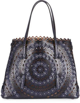 Alaia Mina Medium Floral Laser-Cut Leather Tote Bag