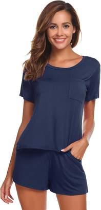 Ekouaer Short Pajamas for Women Pjs Top and Shorts Set Sleepwear (, S)