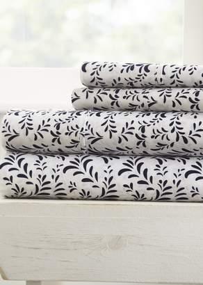 IENJOY HOME Home Spun Premium Ultra Burst of Vines Pattern 4-Piece California King Bed Sheet Set - Navy