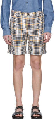 Editions M.R Navy and Yellow Check Pleated Shorts