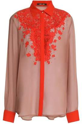 Roberto Cavalli Lace-Paneled Silk Crepe De Chine Shirt