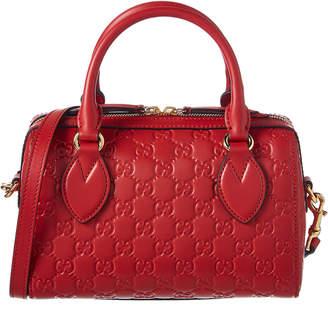 Gucci Logo Signature Leather Top Handle Satchel