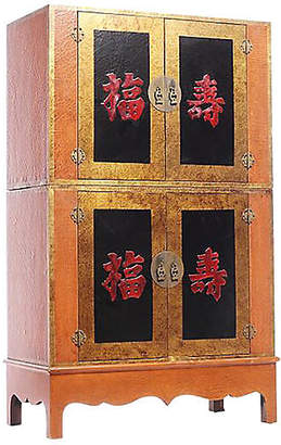 One Kings Lane Vintage Antique Chinese Orange Storage Cabinet - FEA Home