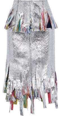 Goen.j Fringed Metallic-Coated Bouclé Midi Skirt