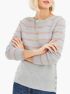 Oasis Kirsty Stripe Crew Jumper, Mid Grey