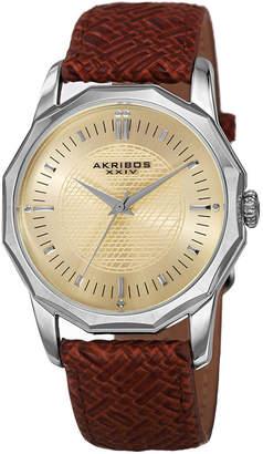 Akribos XXIV Unisex Brown Strap Watch-A-825ssbr