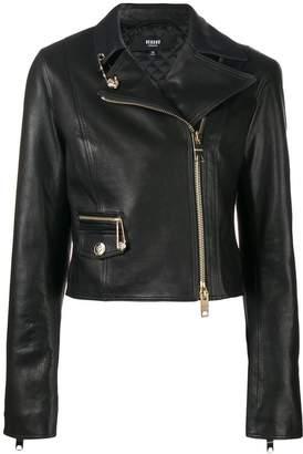Versus safety pin detail biker jacket