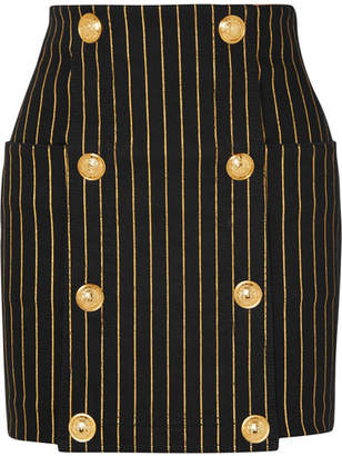 Balmain Button-embellished Striped Denim Mini Skirt - Black
